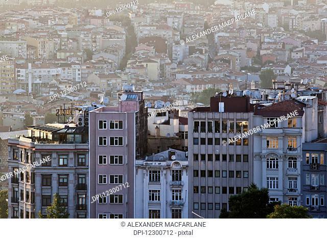 Dusk light over Beyoglu district; Istanbul, Turkey