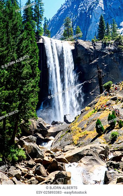 Vernal Fall is a 317 feet waterfall on the Merced River just downstream of Nevada Fall in Yosemite National Park, California