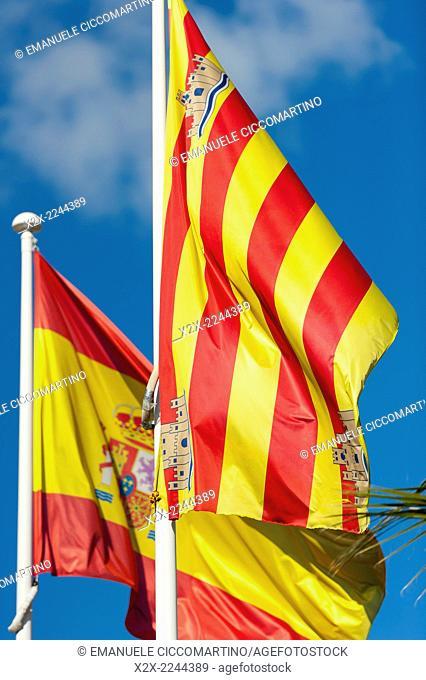 Spain and Balearic islands flags, Eivissa, Ibiza, Balearic Islands, Spain, Mediterranean, Europe