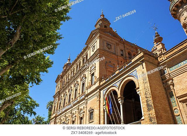 Torre Sur or South Tower building in Plaza de Espana Seville, Sevilla, Andalucia, Spain
