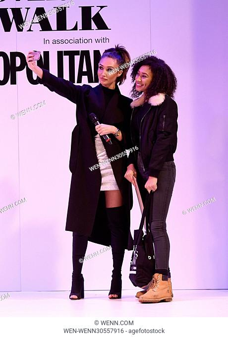 Megan McKenna judging a cat walk at The Clothes Show Live 2016 in Birmingham where the winners were both given her signed calendars Featuring: Megan McKenna...