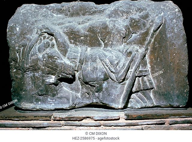 Depiction of Pollux with a horse from the 'Pillar of the Boatman of Paris', found in Notre Dame and from the Musee de Cluny's collection, 1st century