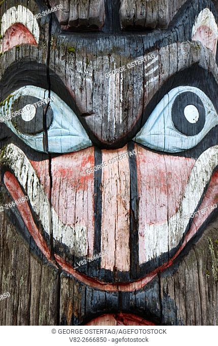 Totem pole face, Oaks Park, Portland, Oregon