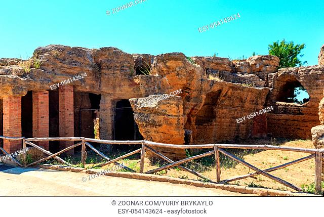 Famous ancient ruins in Valley of Temples, Agrigento, Sicily, Italy. UNESCO World Heritage Site