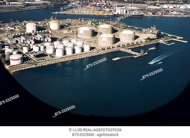 View of the commercial port from the window of a plane. Barcelona, Spain, Europe