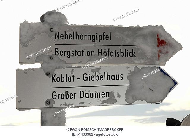 Signpost at the Nebelhorn summit, 2224m, Nebelhorn, Oberstdorf, Oberallgaeu district, Bavaria, Germany, Europe