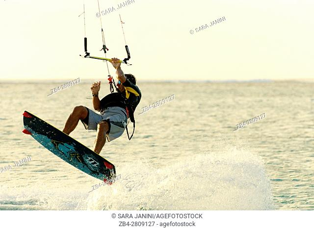 Kitesurfer at Le Morne Brabant, Mauritius, Indian Ocean, Africa
