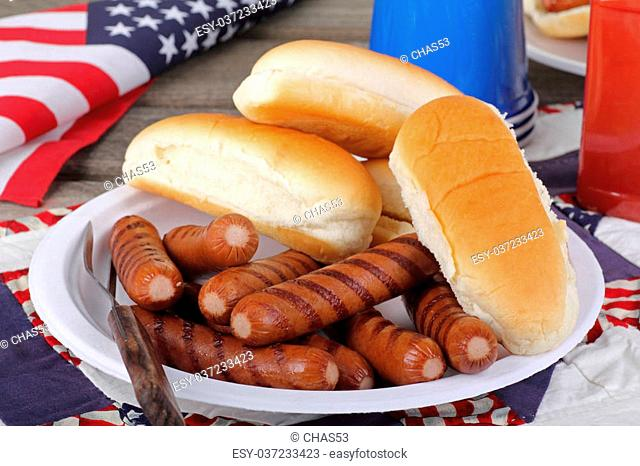 Grilled hotdogs and buns on a plate with american flag in background