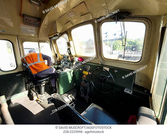 Inside the control cab of the vintage diesel powered locomotibe Sybilla at Grosmont station on the North Yorkshire Moors Railway, near Whitby, North Yorkshire