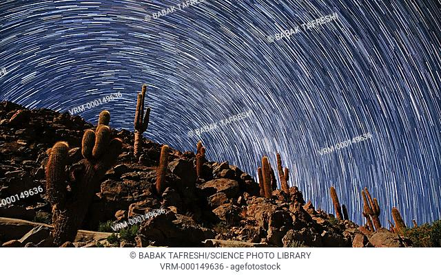 Star trails over the desert. Time-lapse footage of Milky Way star trails, created by the Earth's rotation over several hours