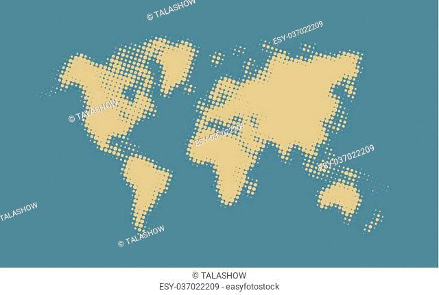 Yellow halftone political world map Illustration. Vector art