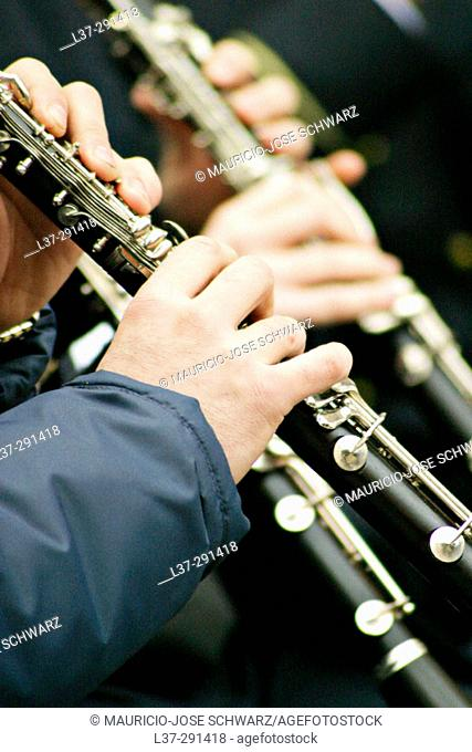 Hands of clarinet players in a band
