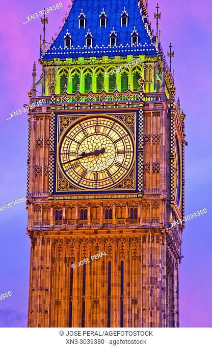 Elizabeth Tower, Big Ben, Clock tower, Houses of Parliament, Palace of Westminster, City of Westminster, London, England, UK, United Kingdom, Europe