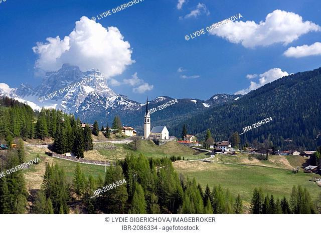 Church of Selva Di Cadore and Monte Pelmo peak, Colle Santa Lucia, Dolomites, Italy, Europe