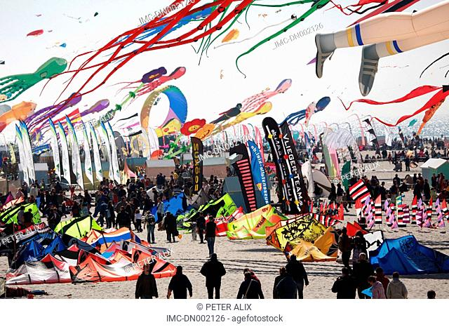 France, Pas-de-Calais, beach of Berck, kites
