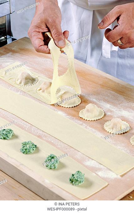 Producing homemade tortelloni, close-up