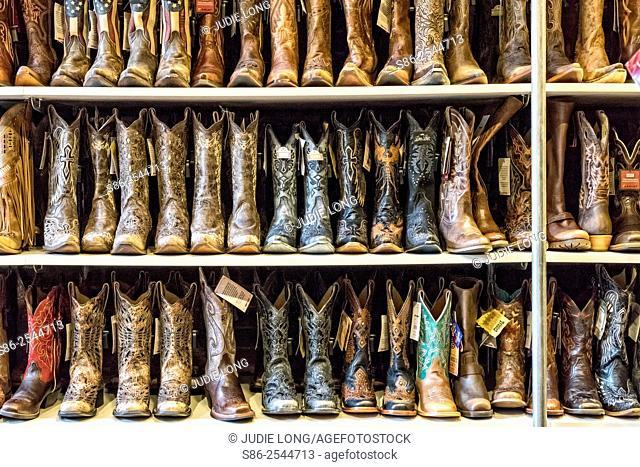 Racks and Rows of Western Boots, Displayed in a Nashville, TN Boot Store