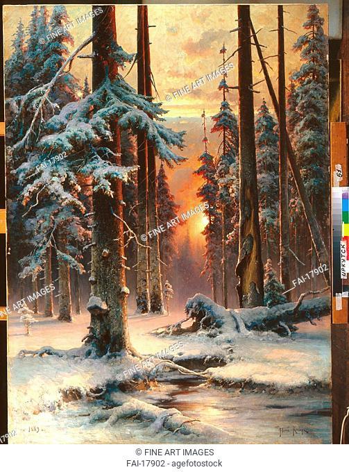 Winter Sunset in the Fir Forest. Klever, Juli Julievich (Julius), von (1850-1924). Oil on canvas. Realism. 1889. State Art Museum, Irkutsk. 143x104