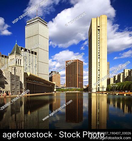 Skyscrapers Reflecting in Pool, Boston, USA