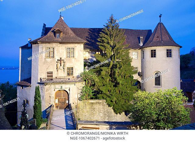 Burg Meersburg, Old Castle in the evening light, Meersburg, Lake Constance, Baden-Wuerttemberg, Germany, Europe