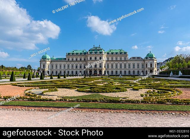Vienna, Austria - April 17, 2019: Beautiful view of famous Belvedere Palace summer residence for Prince Eugene of Savoy, in Vienna capital of Habsburg Empire