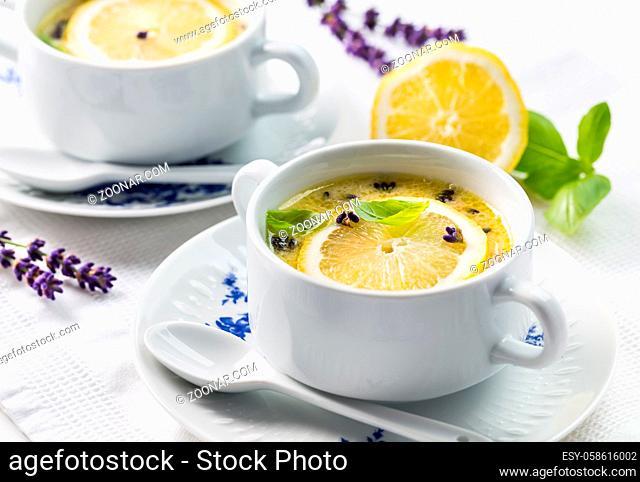 Avgolemono - delicious Greek chicken egg and lemon soup. Mediterranean sauce or soup