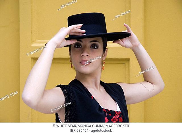 Spanish flamenco dancer with Cordobes hat in the Conservatorio de Danza, Sevilla, Andalusia, Spain, Europe