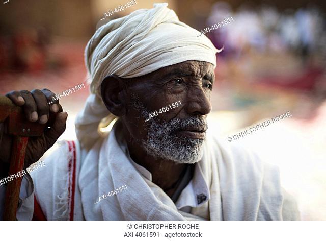 Portrait of an Ethiopian pilgrim; Lalibela, Ethiopia