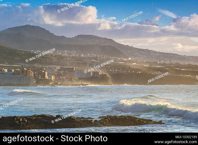 Spain, Canary Islands, Tenerife Island, Bajamar, coastal view with El Teide Mountain, dusk