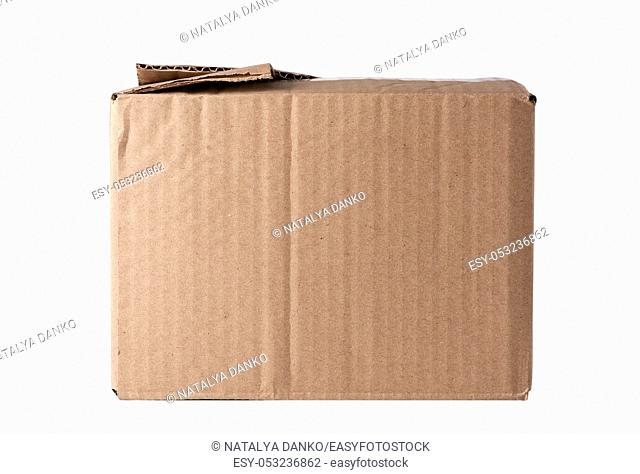 closed brown rectangular box of cardboard on a white background, packaging for goods