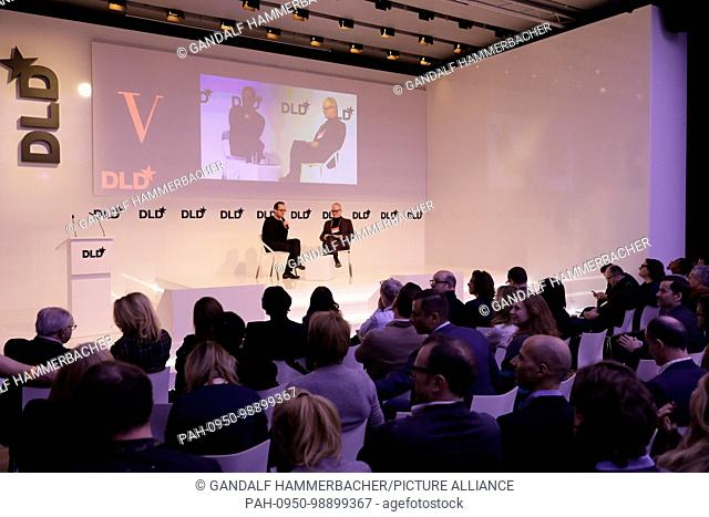 MUNICH/GERMANY - JANUARY, 21: (L-R) Igor Levit (Pianist), Hans Ulrich Obrist (Serpentine Galleries) in conversation at a panel discussion during DLD18...