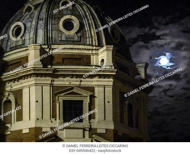 Night scene view of dome of saint mary of loreto catholic church at Rome city, Italy