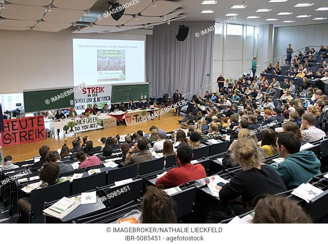 Climate strike, Plenary Assembly of Students in the Lecture Hall of Freie Universität Berlin, FU Berlin, Fridays for Future, Berlin, Germany, Europe