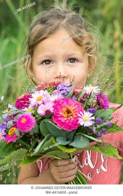 Little girl holding autumn bouquet with Zinnia (Zinnia elegance), Aromatic Aster (Aster novae), Quaking grass (Briza), sage (Salvia)