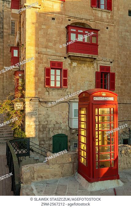 Red phone box in Valletta, Malta