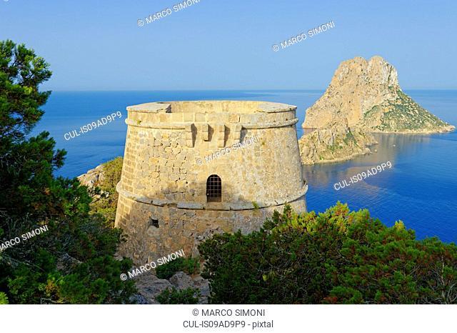 Torre des Savinar and Es Vedra Islands in background, Ibiza, Balearic Islands, Spain