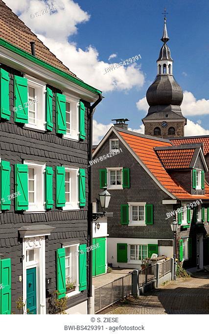 historic old city with evangelic church in Remscheid-Lennep, Germany, North Rhine-Westphalia, Bergisches Land, Remscheid