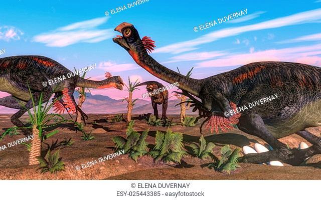 Tyrannosaurus rex attacking gigantoraptor dinosaurs and eggs by day - 3D render