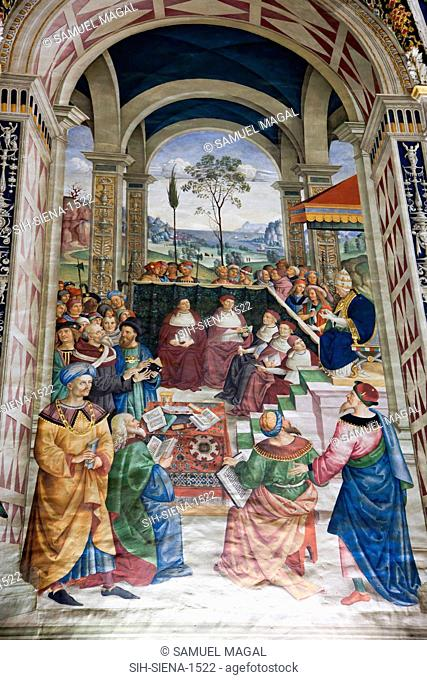 Piccolomini library, called Pinturicchio, probably based on designs by Raphael. The frescoes tell the story of the life of Siena's favorite son