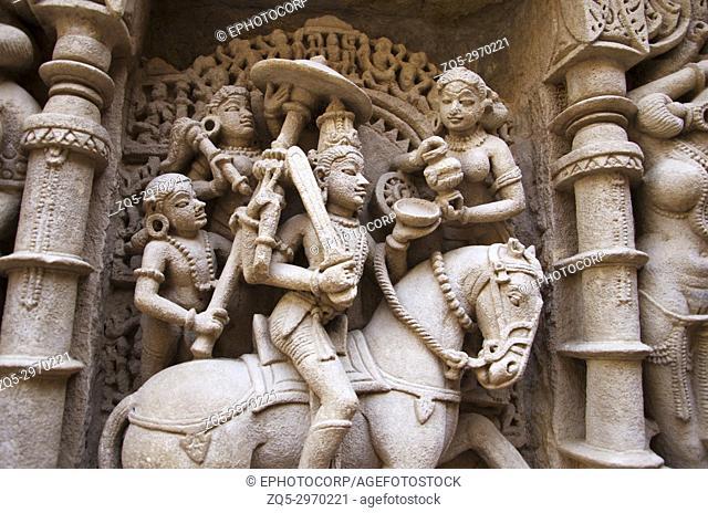 Kalki Sculpture , Inner wall of Rani ki vav, an intricately constructed stepwell on the banks of Saraswati River. Memorial to an 11th century AD King Bhimdev I