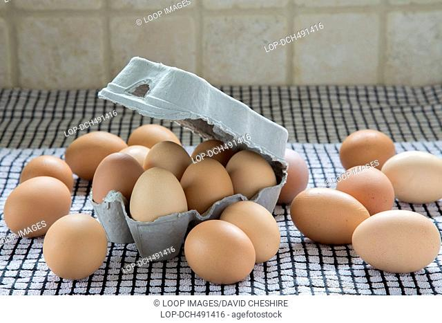 Free range eggs and box made from recycled material