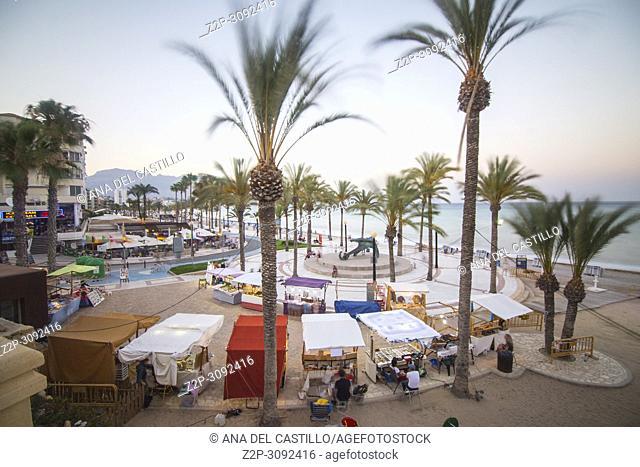 Albir beach in Alfaz del Pi Alicante province Spain Evening at promenade