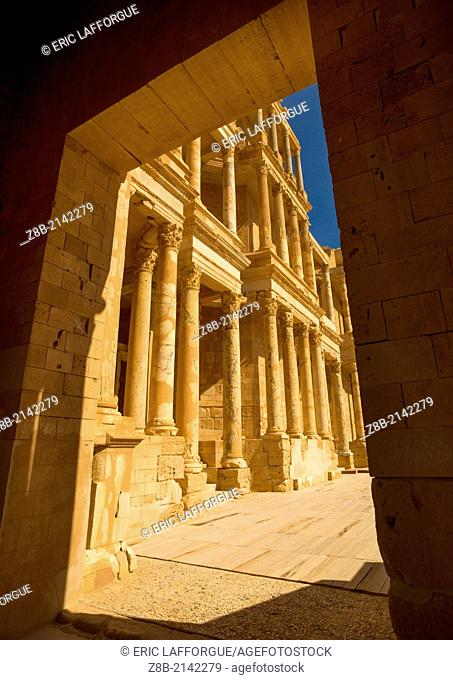 SABRATHA, LIBYA - APRIL 08: Sabratha was one of the three cities of Tripolis, it lies on the Mediterranean coast west of Tripoli