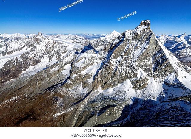 Aerial view of the rocky crest of Matterhorn Zermatt canton of Valais Switzerland Europe