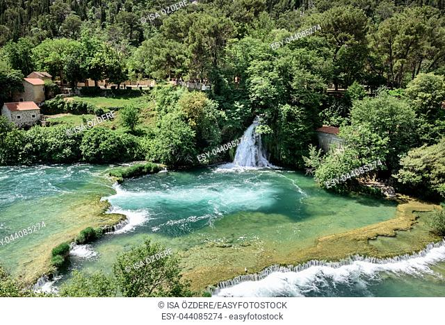 Aerial View of waterfall Skradinski Buk in Krka National Park , one of the Croatian national parks in Sibenik, Croatia