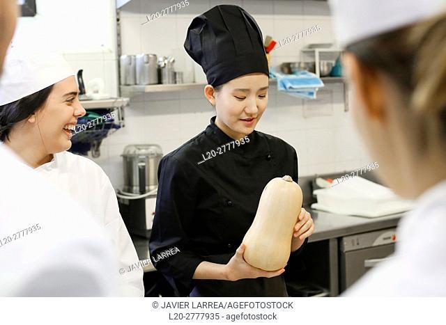 pumpkin, Chefs, Cooks in cooking school, Cuisine School, Donostia, San Sebastian, Gipuzkoa, Basque Country, Spain, Europe