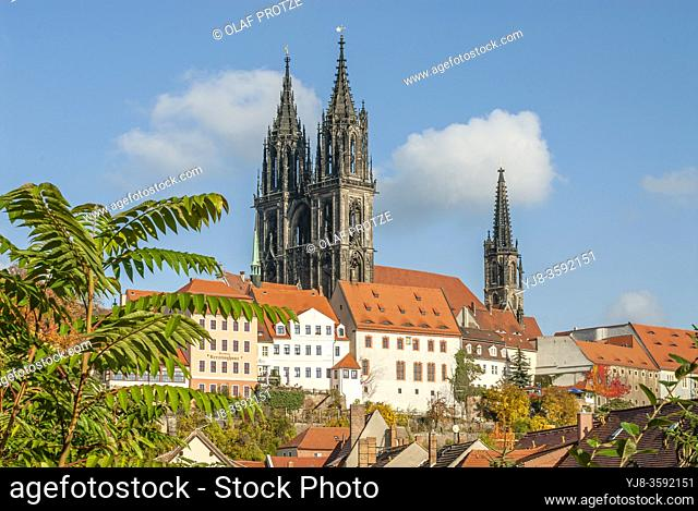 Historic Meissen old town with the cathedral at the background; Saxony; Germany