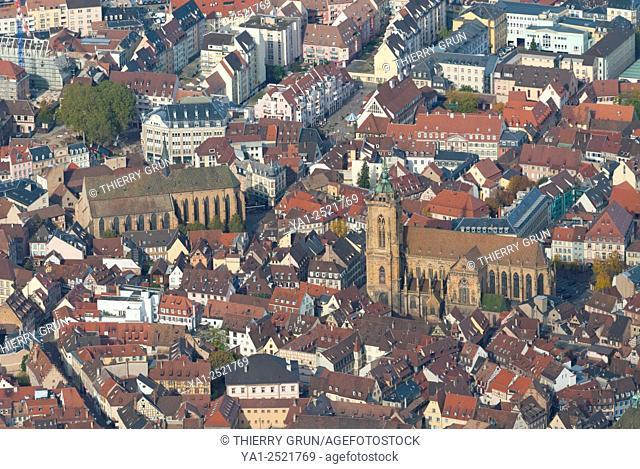 France, Haut Rhin 68, Colmar town, historic center, Eglise des Dominicains church and Collegiale Saint Martin cathedral aerial view