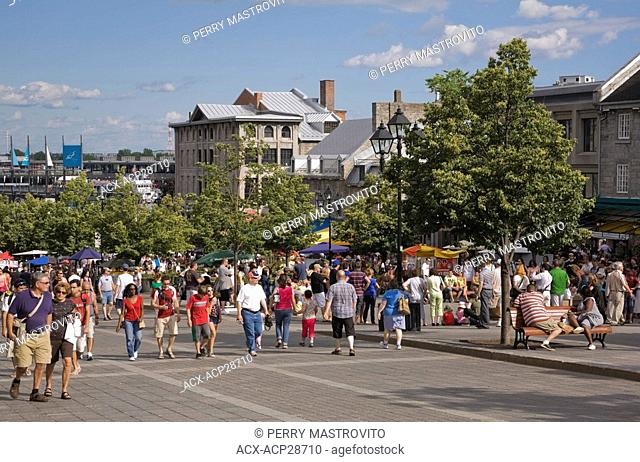 Tourists at Place Jacques Cartier in Old Montreal in Summertime, Quebec, Canada