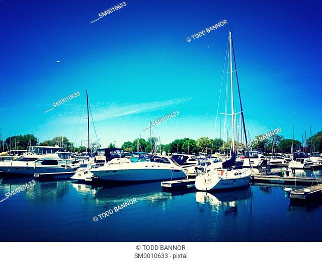 Pleasure boats docked at Montrose Harbor, Chicago, Illinois